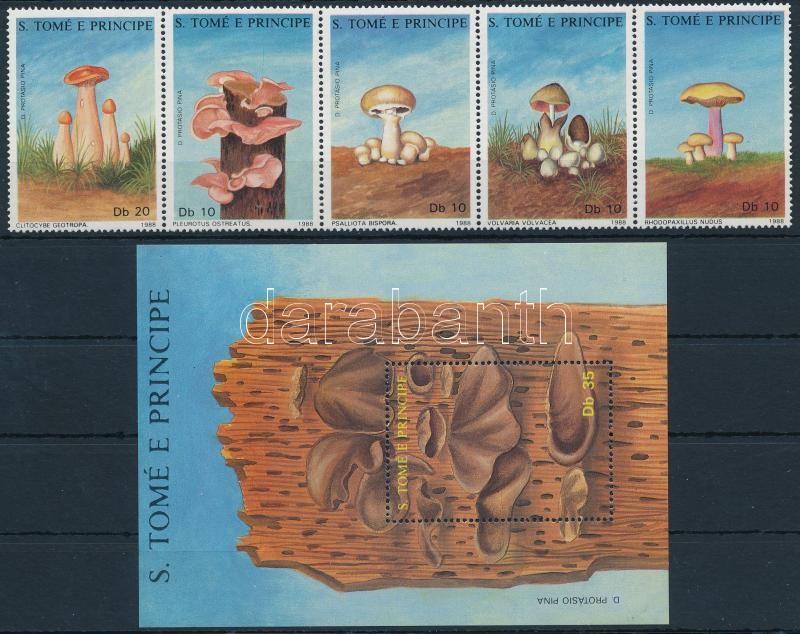 Mushroom set in stripe of 5 + block, Gomba sor ötöscsíkban  + blokk