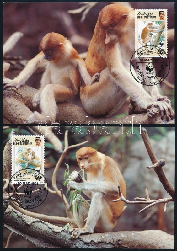 WWF Proboscis monkey set on 4 FDC, WWF Borneói nagyorrúmajom 4 CM-en