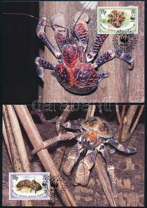 WWF: Pálmatolvaj sor 4 db CM-en, WWF Coconut crab set on 4 CM