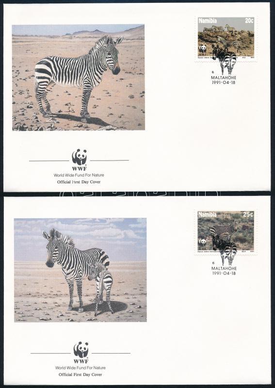 WWF Zebra set on 4 FDC, WWF Zebra sor 4 FDC-n