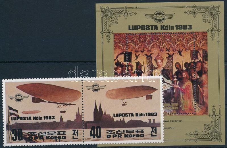 Stamp Exhibition pair + block, Bélyegkiállítás pár + blokk