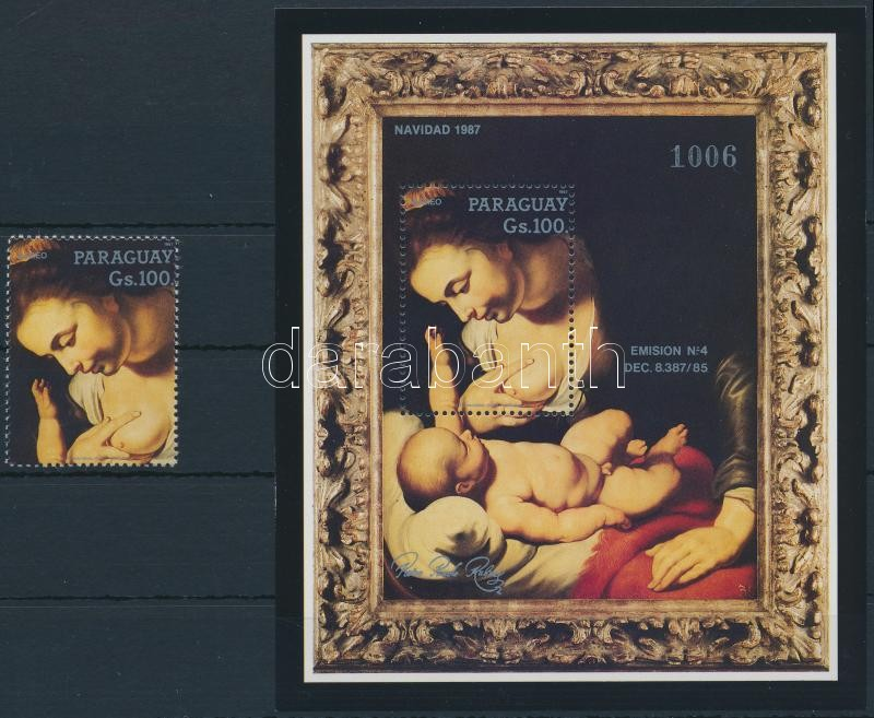 Rubens paintings stamp + block, Rubens festmény bélyeg + blokk