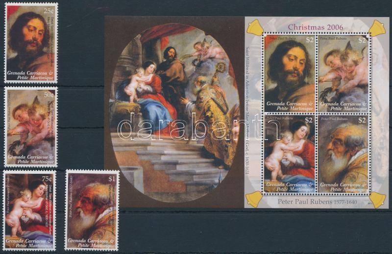 Rubens paintings set + mini sheet, Rubens festmény sor  + kisív