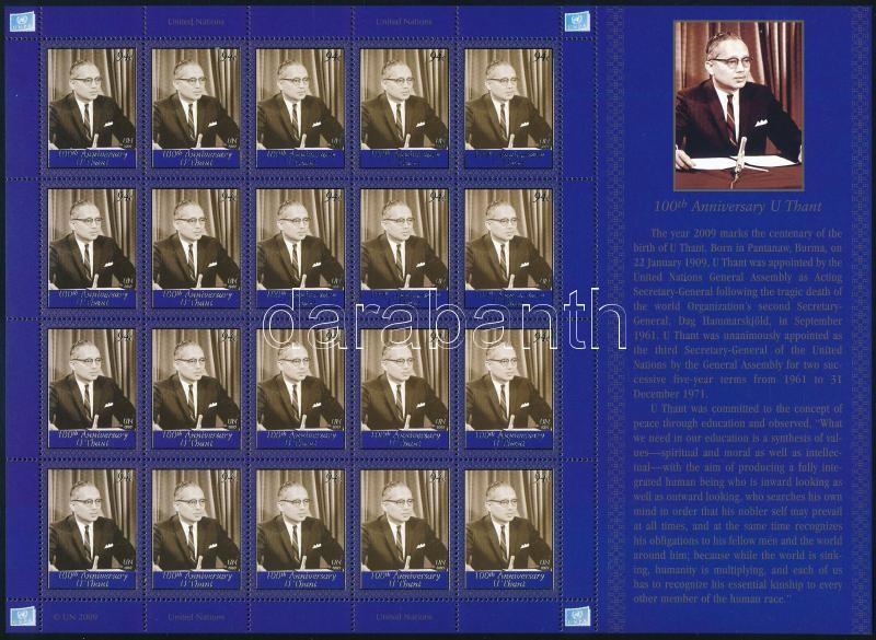 Centenary of U Thant complete sheet, U Thant születésnapja teljes ív