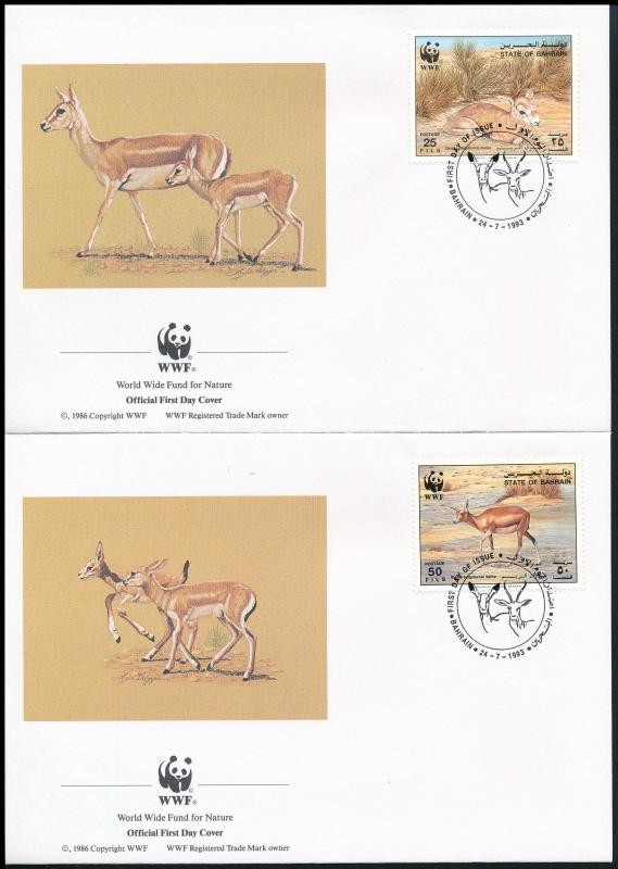 WWF Goitered gazelle set on 4 FDC, WWF: Golyvás gazella sor 4 db FDC-n