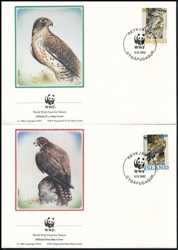 WWF Falcone set on 4 FDC, WWF: Északi sólyom sor  4 db FDC-n
