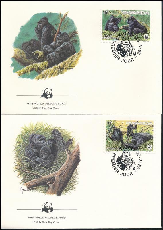 WWF Gorilla set 4 FDC, WWF: Hegyi gorilla sor 4 db FDC-n