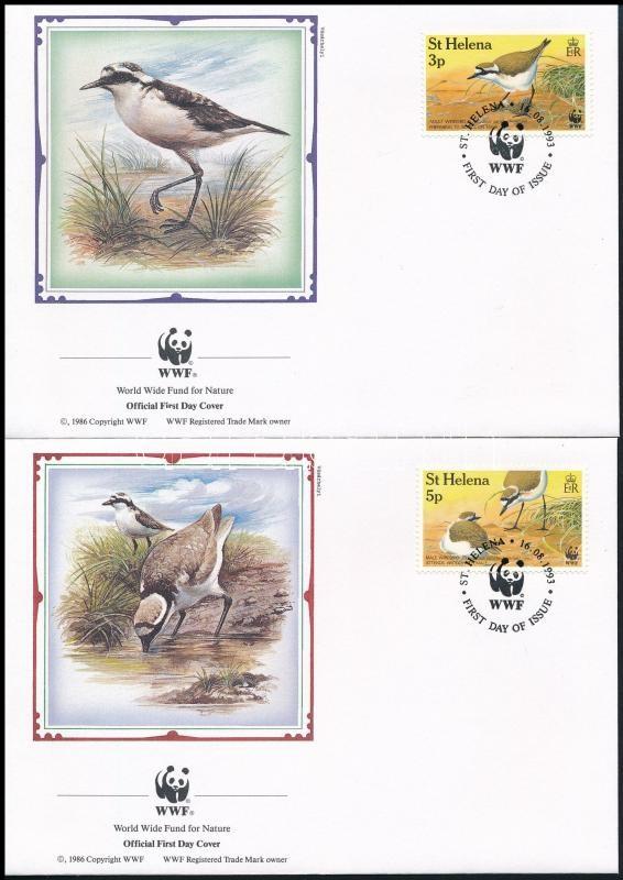 WWF: St. Helena Island plover set 4 values on 4 FDC, WWF: Szent Ilona-szigeti lile sor 4 értéke 4 db FDC-n
