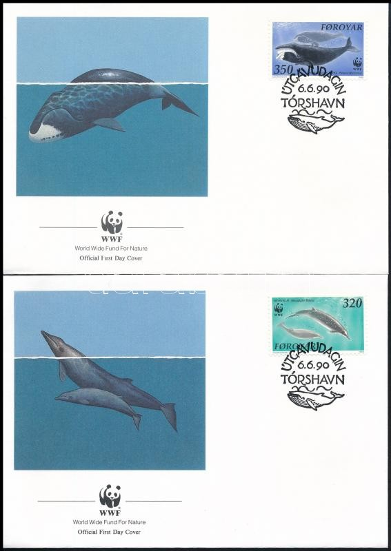 WWF Whale set on 4 FDC, WWF: Bálna sor  4 db FDC-n