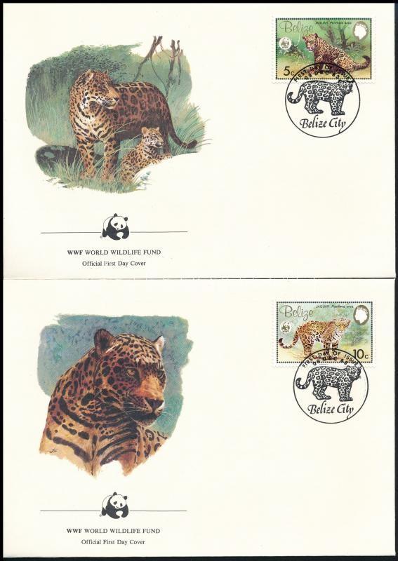 WWF Jaguar set on 4 FDC, WWF: Jaguár sor  4 db FDC-n