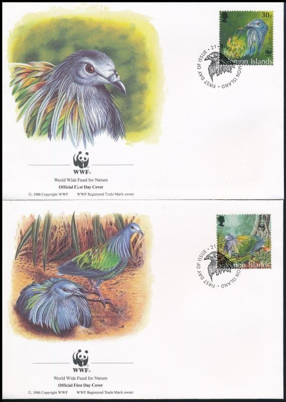 WWF Manly dove set 4 FDC, WWF: Sörényes galamb sor 4 db FDC-n