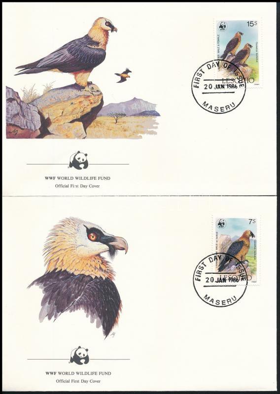 WWF Bearded vulture set 4 FDC, WWF: Szakállas saskeselyű sor 4 db FDC-n