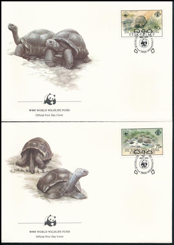 WWF: Aldabra giant tortoise set on 4 FDC, WWF: Aldabrai óriásteknős sor 4 db FDC-n