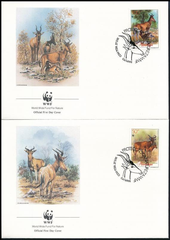 WWF: Vörös tehénantilop sor 4 db FDC-n, WWF Red cowshed set 4 FDC