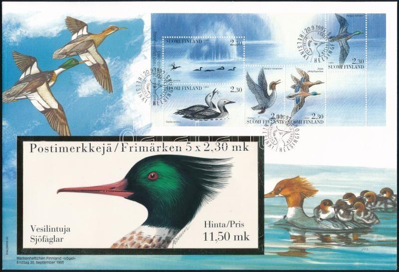 Birds 2 stamp-booklet sheet on 2 FDC, ;Finnország;1993 Madarak 2 db klf bélyegfüzetlap  2 db FDC-n