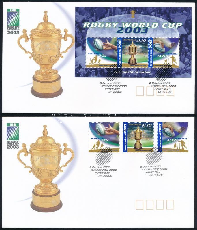 Rugby set + block 2 FDC, Rögbi sor + blokk 2 db FDC-n