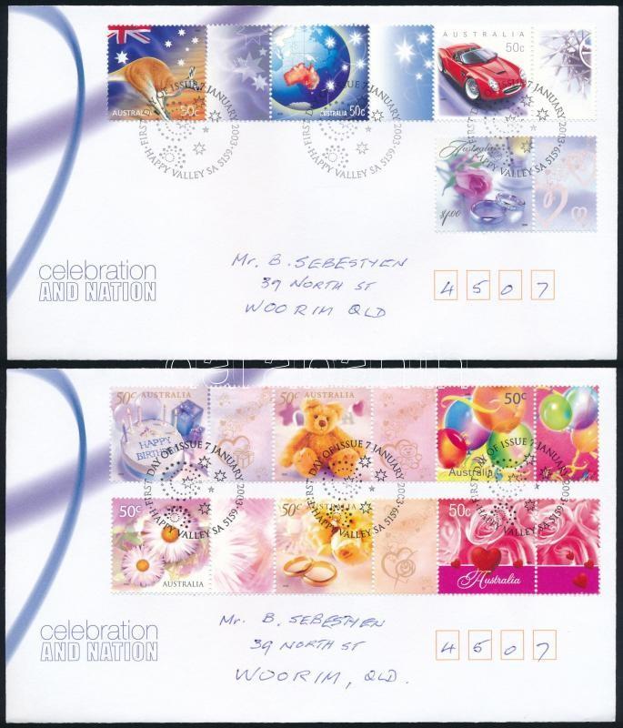 Greeting Stamps set with coupon set 2 FDC, Üdvözlőbélyeg szelvényes sor 2 db FDC-n