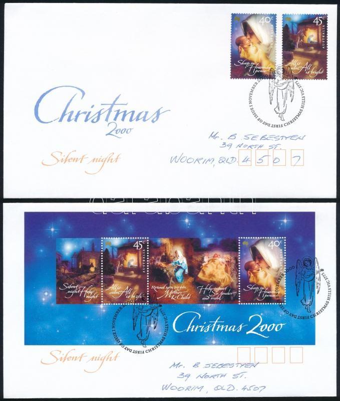 Christmas set + block 2 FDC, Karácsony sor + blokk  2 db FDC-n