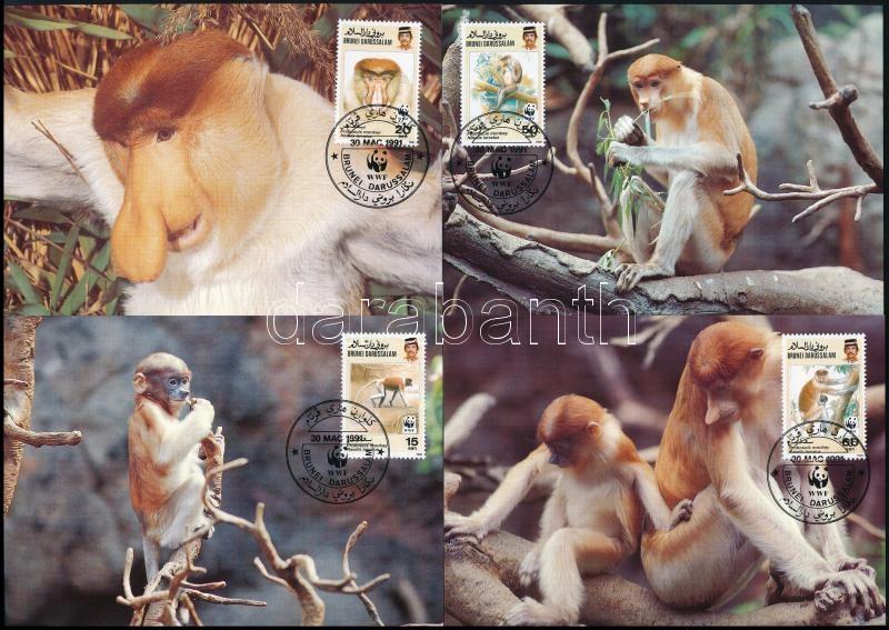 WWF Proboscis monkey set on 4 CM, WWF Borneói nagyorrúmajom 4 CM-en