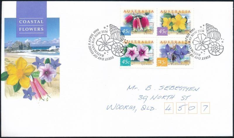 Flower block of 4 FDC, Virág négyestömb FDC-n