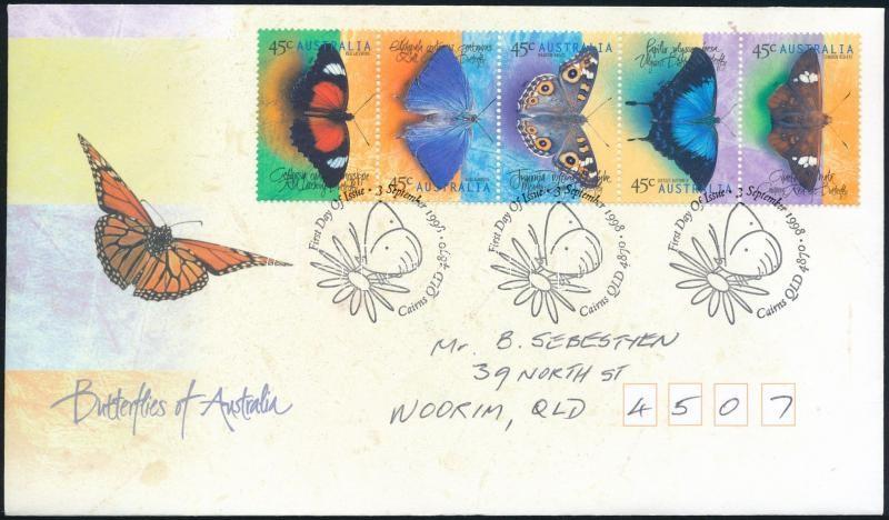Butterfly stripe of 5 FDC, Pillangó ötöscsík FDC-n