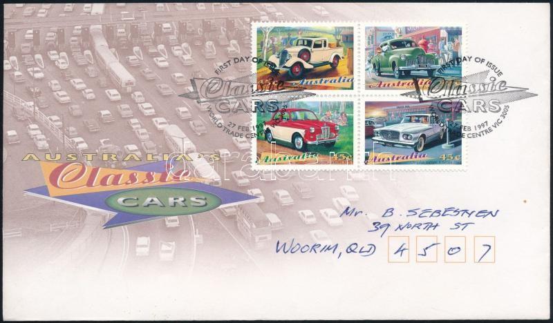 Classic cars block of 4 FDC, Klasszikus autók négyestömb FDC-n