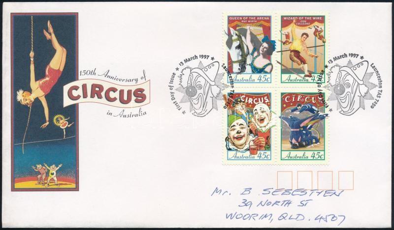 Circus block of 4 FDC, Cirkusz négyestömb FDC-n
