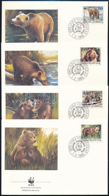 WWF Bear set 4 FDC, WWF medve sor 4 db FDC-n
