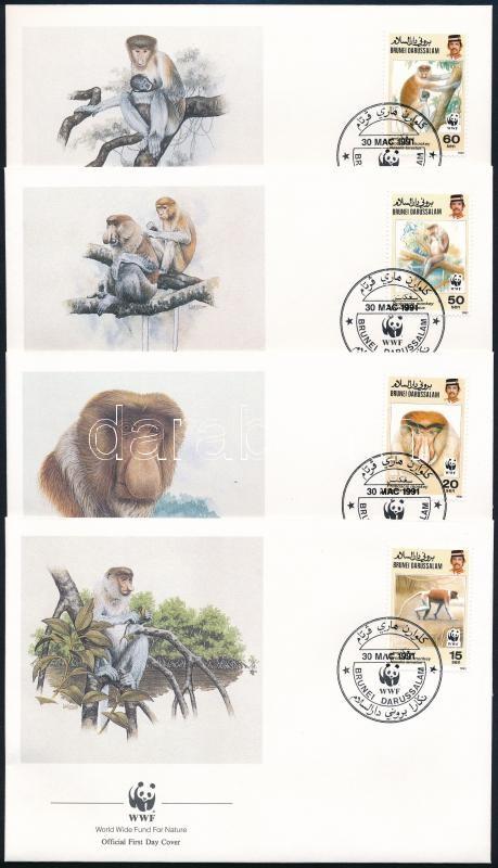 WWF Proboscis monkey set on 4 FDC, WWF Borneói nagyorrúmajom 4 FDC-n