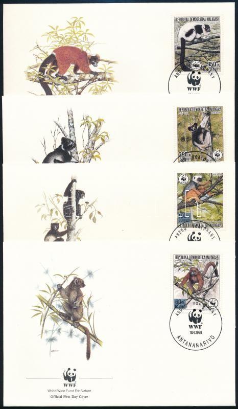 WWF Lemurs set 4 FDC, WWF: Lemúrok sor 4 FDC-n