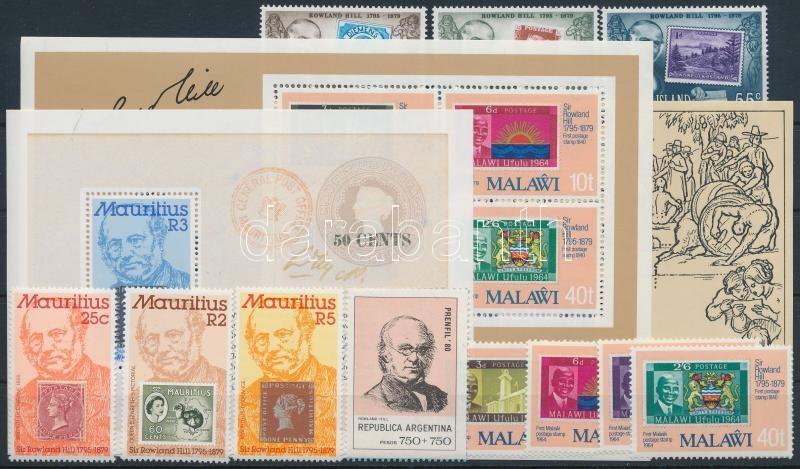 Rowland Hill 11 stamps + 3 blocks, Rowland Hill motívum 11 klf bélyeg + 3 klf blokk
