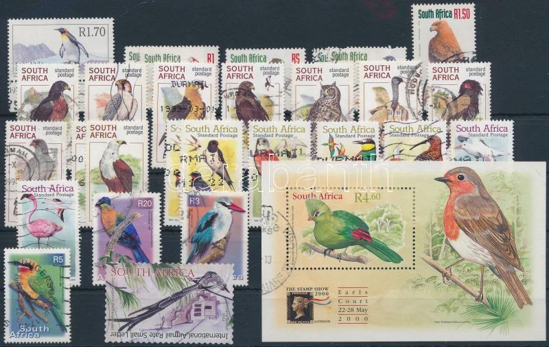 1961-2004  Bird 72 db stamps + 1 block, 1961-2004 72 db Madár bélyeg és 1 blokk 2 stecklapon