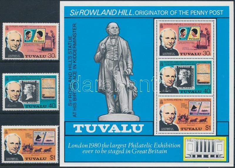 Rowland Hill 10 stamps + 3 blcks, Rowland Hill motívum 10 klf bélyeg + 3 klf blokk