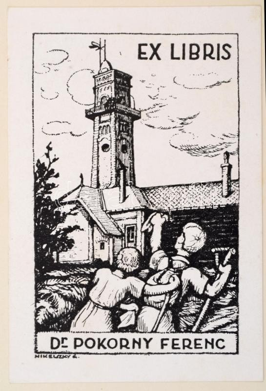 Nikelszky Géza (1877-1966): Ex libris Dr. Pokorny Ferenc. Klisé, papír, jelzett a klisén, 9,5×6 cm
