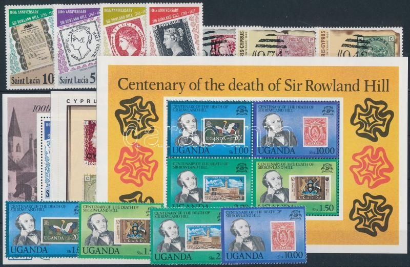 1979-1980 Rowland Hill motívum 11 klf bélyeg + 3 klf blokk, 1979-1980 Rowland Hill 11 stamps + 3 blocks