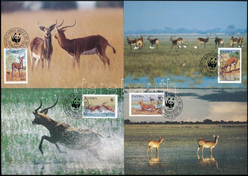 WWF Waterbuck set 4 CM, WWF gyűrűsfarkú víziantilop sor 4 db CM-en