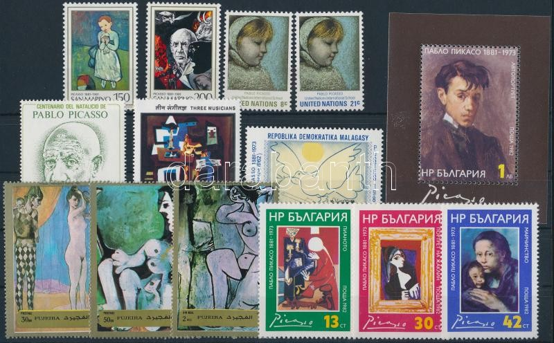 1971-1982 Picasso 13 stamps + 1 block + 3 FDC, 1971-1982 Picasso motívum 13 db klf bélyeg + 1 db blokk + 3 db levelezőlap