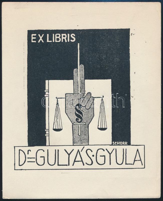 Schorr Tibor (?-?): Ex libris Dr. Gulyás Gyula. Fametszet, papír, jelzett a metszeten, 14x12 cm