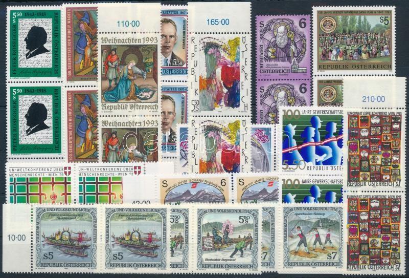 30 stamps, mostly pairs, 30 db bélyeg párokban, közte teljes sorok stecklapon