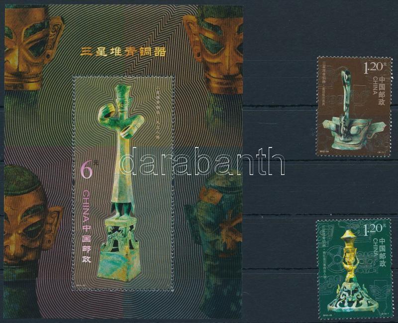 Bronze items set + block, Bronz szobrok sor + blokk