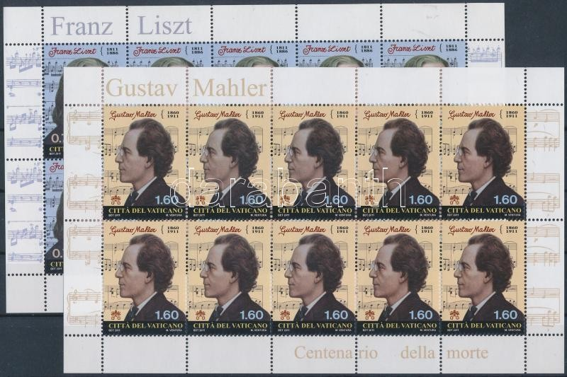 Franz Liszt and Gustav Mahler mini sheet pair, Liszt Ferenc és Gustav Mahler kisívpár