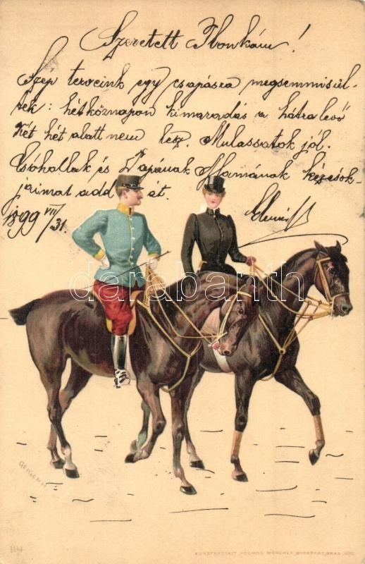 1899 Hungarian military officer and lady riding horses, Kosmos 194. litho s: Geiger R., 1899 Lovagló hölgy és magyar tiszt, Kosmos 194. litho s: Geiger R.