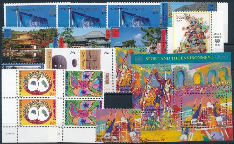 Vienna, Geneva, New York 1996-2002 5 stamps + 6 sets + 1 block, Bécs, Genf, New York 1996-2002 5 klf önálló érték + 6 klf sor + 1 blokk