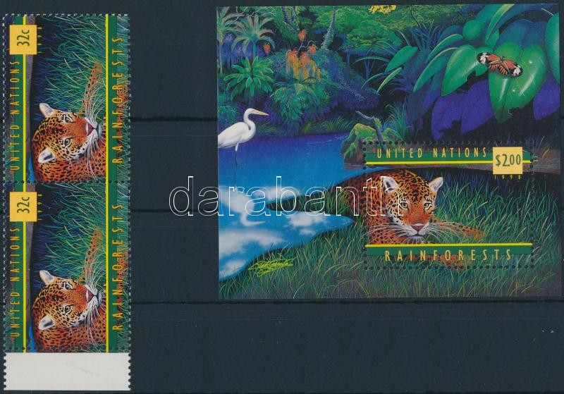 Protection of rainforests margin stamp pair + mini sheet + block, Esőerdők védelme ívszéli bélyegpár + kisív + blokk
