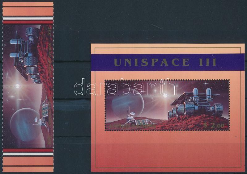 Space Research margin pair + block, Űrkutatás ívszéli pár + blokk