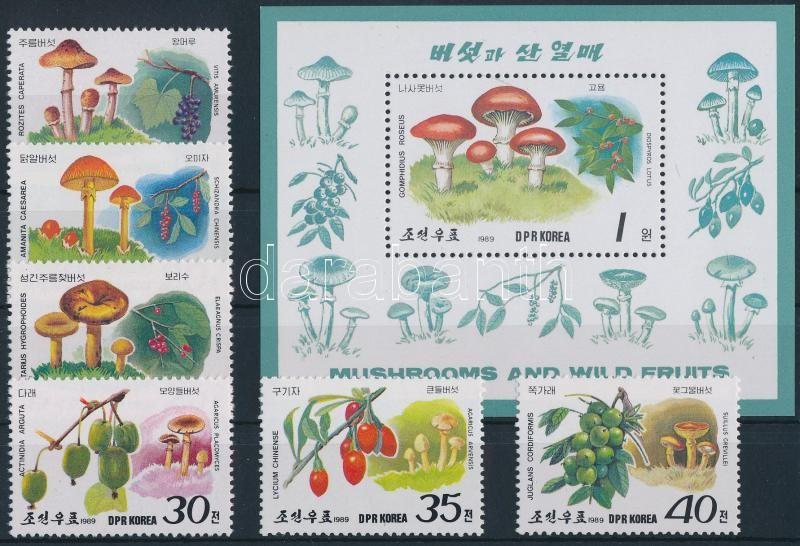 Mushrooms and fruits + 3 FDC + block, Gombák és gyümölcsök + 3 db FDC + blokk