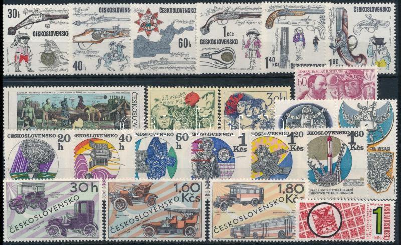 1969-1970 9 klf sor + 4 db önálló érték 3 stecklapon, 1969-1970 9 sets + 4 stamps