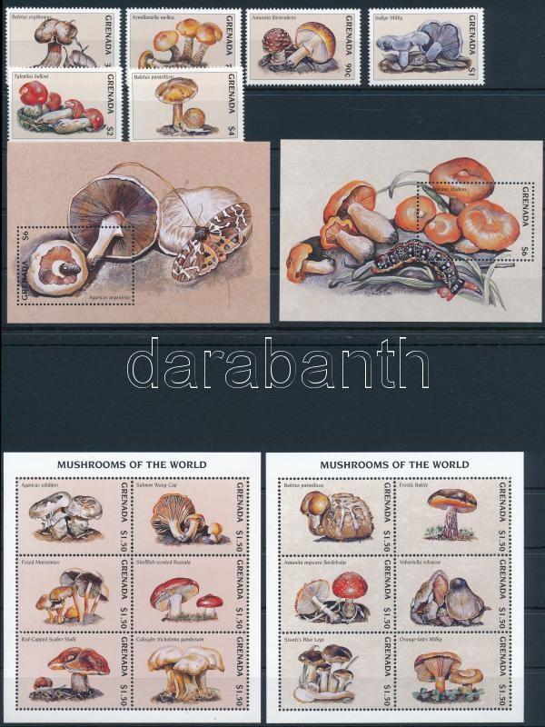 Mushroom set + mini sheet set + blockset + 5 FDC, Gomba sor + kisívsor + blokksor + 5 db FDC