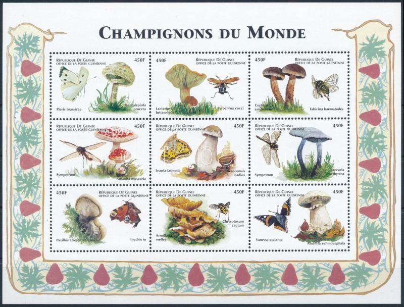 Mushrooms and insects mini sheet, Gombák és rovarok kisív