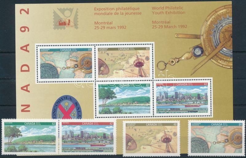 International Youth Stamp Exhibition set with pair + block, Nemzetközi Ifjúsági Bélyegkiállítás sor párral + blokk